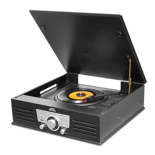 Bluetooth Classic Vintage Style Record Player Turntable Phonograph with Vinyl to MP3 Recording PTT25UBT
