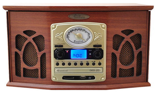 Retro Vintage Turntable System with Built-in Speakers (Wood Finish) PTCDS7UIW