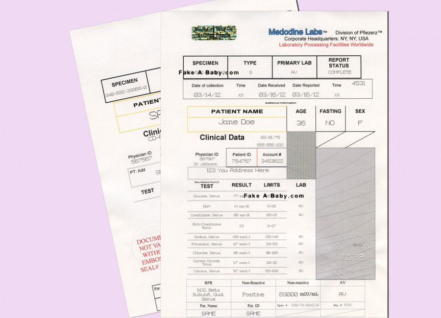 Personalized Fake Proof of Pregnancy Document