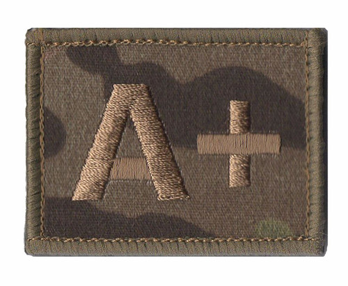 All blood Types Badges MTP Hook and Loop Blood Group Patches Multicam