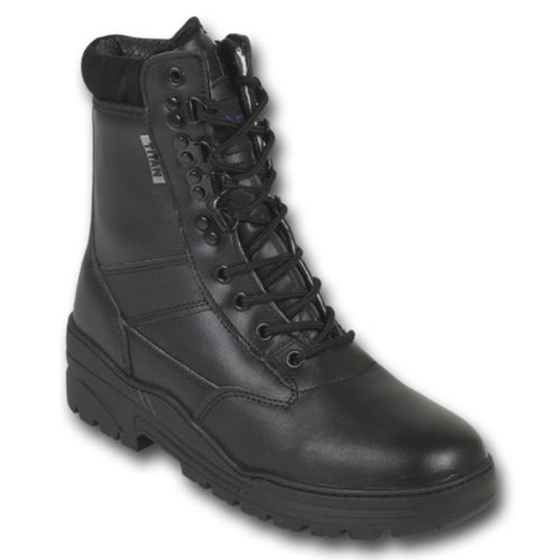 7da9c2efb04 BLACK PATROL COMBAT BOOTS LEATHER ARMY TACTICAL CADET SECURITY MILITARY  POLICE