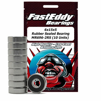 6x15x5 Rubber Sealed Bearing MR696-2RS (10 Units)