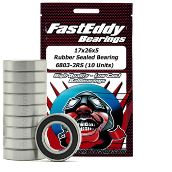 17x26x5 Rubber Sealed Bearing 6803-2RS (10 Units)