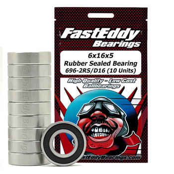 6x16x5 Rubber Sealed Bearing 696-2RS/D16 (10 Units)