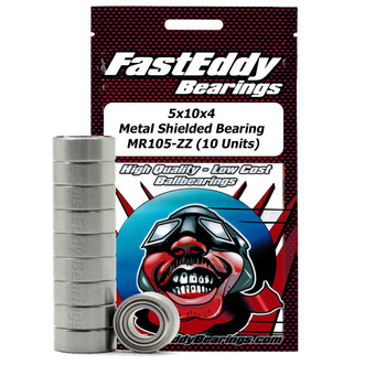 5x10x4 Metal Shielded Bearing MR105-ZZ (10 Units)