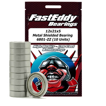 12x21x5 Metal Shielded Bearing 6801-ZZ (10 Units)