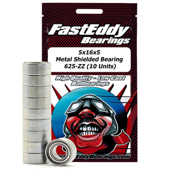 5x16x5 Metal Shielded Bearing 625-ZZ (10 Units)
