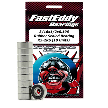 3/16x1/2x0.196 Rubber Sealed Bearing R3-2RS (10 Units)