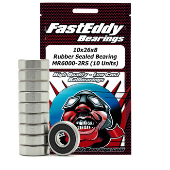 10x26x8 Rubber Sealed Bearing MR6000-2RS (10 Units)