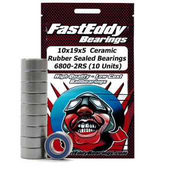 10x19x5 Ceramic Rubber Sealed Bearing 6800-2RS (10 Units)
