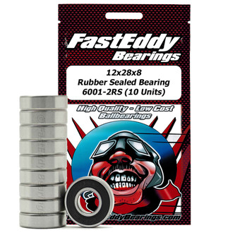 12x28x8 Rubber Sealed Bearing 6001-2RS (10 Units)