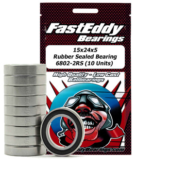15x24x5 Rubber Sealed Bearing 6802-2RS (10 Units)