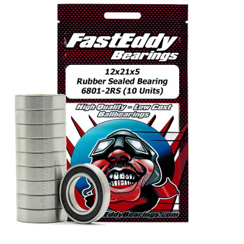 12x21x5 Rubber Sealed Bearing 6801-2RS (10 Units)