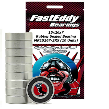 15x26x7 Rubber Sealed Bearing MR15267-2RS (10 Units)