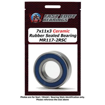 7x11x3 Ceramic Rubber Sealed Bearing MR117-2RSC