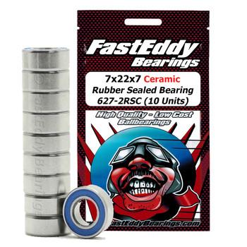7x22x7 Ceramic Rubber Sealed Bearing 627-2RSC (10 Units)