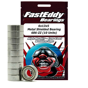 6x13x5 Metal Shielded Bearing 686-ZZ (10 Units)