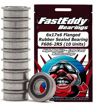 6x17x6 Flanged Rubber Sealed Bearing F606-2RS (10 Units)