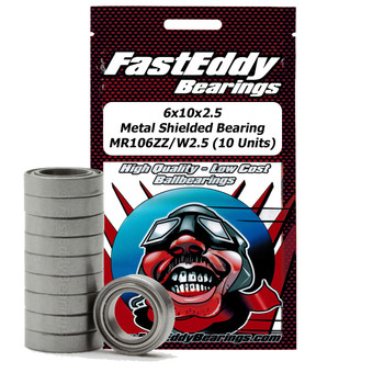 6x10x2.5 Metal Shielded Bearing MR106ZZ/W2.5 (10 Units)