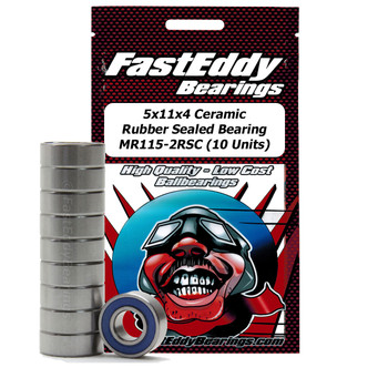 5x11x4 Ceramic Rubber Sealed Bearing MR115-2RSC (10 Units)