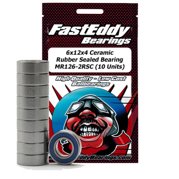 6x12x4 Ceramic Rubber Sealed Bearing MR126-2RSC (10 Units)