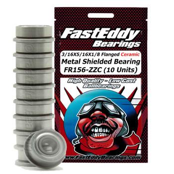3/16X5/16X1/8 Flanged Ceramic Metal Shielded Bearing FR156-ZZC (10 Units)