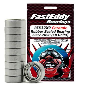 15X32X9 Ceramic Rubber Sealed Bearing 6002-2RSC (10 Units)