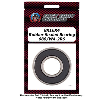 8X16X4 Rubber Sealed Bearing 688/W4-2RS