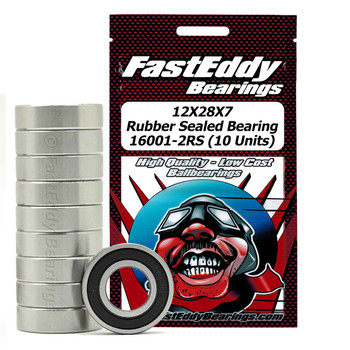 12X28X7 Rubber Sealed Bearing 16001-2RS (10 Units)