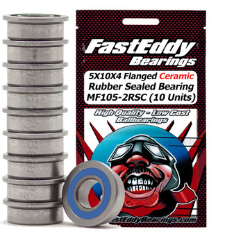5X10X4 Flanged Ceramic Rubber Sealed Bearing MR105-2RSC (10 Units)