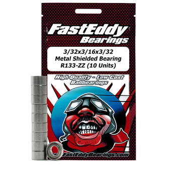 3/32x3/16x3/32 Metal Shielded Bearing R133-ZZ (10 Units)