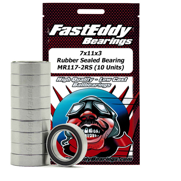 7x11x3 Rubber Sealed Bearing MR117-2RS (10 Units)