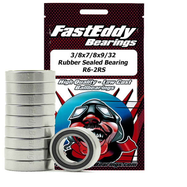 3/8x/7/8x9/32 Rubber Sealed Bearing R6-2RS (10 Units)