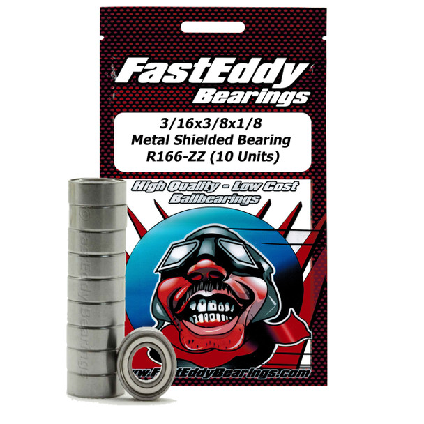 3/16x3/8x1/8 Metal Shielded Bearing R166-ZZ (10 Units)