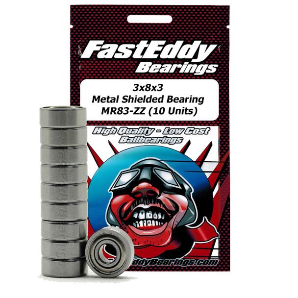 3x8x3 Metal Shielded Bearing MR83-ZZ (10 Stück)