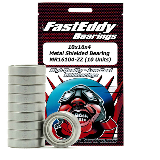 10x16x4 Metal Shielded Bearing MR16104-ZZ (10 Units)