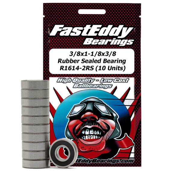 3/8x1-1/8x3/8 Rubber Sealed Bearing 1614-2RS (10 Units)