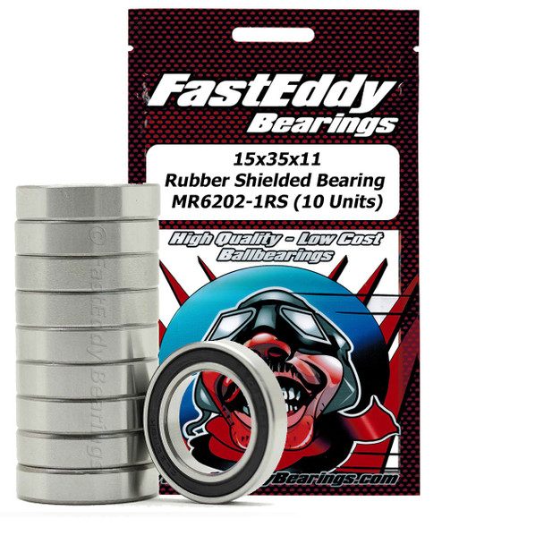15x35x11 Rubber Sealed Bearing 6202-2RS (10 Units)