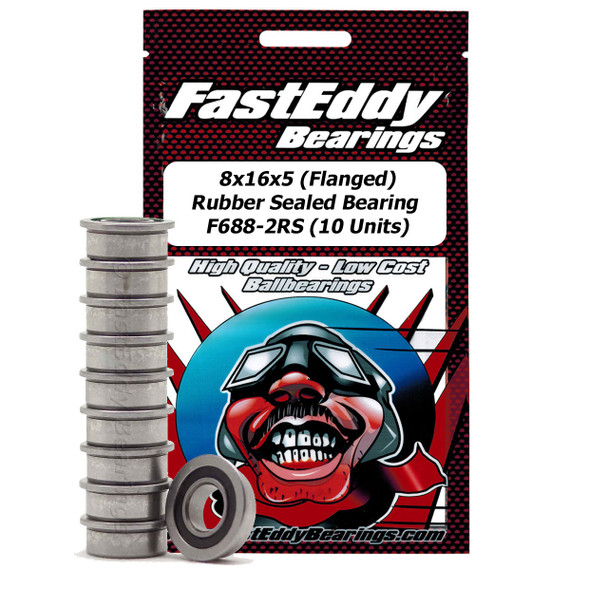 8x16x5 Flanged Rubber Sealed Bearing F688-2RS (10 Units)