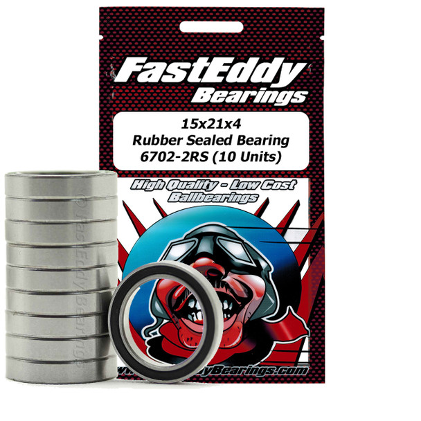 15x21x4 Rubber Sealed Bearing 6702-2RS (10 Units)