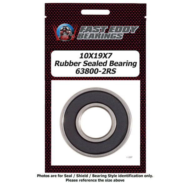 10x19x7 Rubber Sealed Bearing 63800-2RS