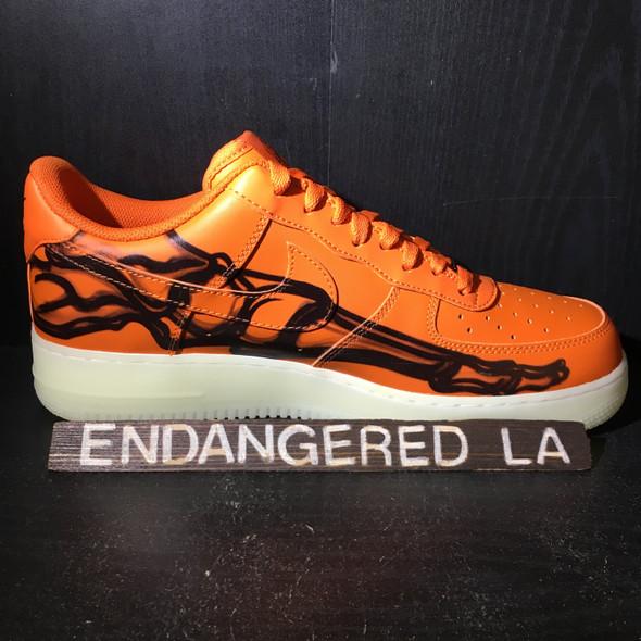 Nike Air Force 1 Low Orange Skeleton Sz 9