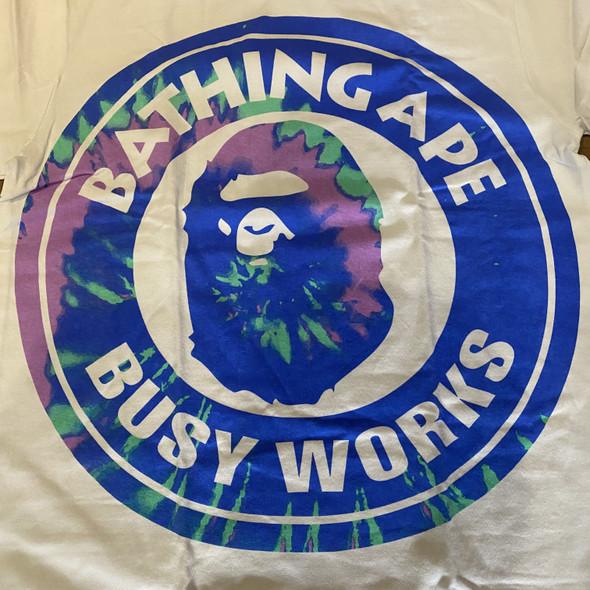 Bape Busy Works Pigment Tie Dye White Sz M