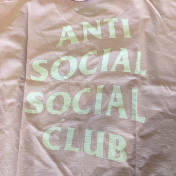 Anti Social Social Club Logo Tee Pink Sz XL