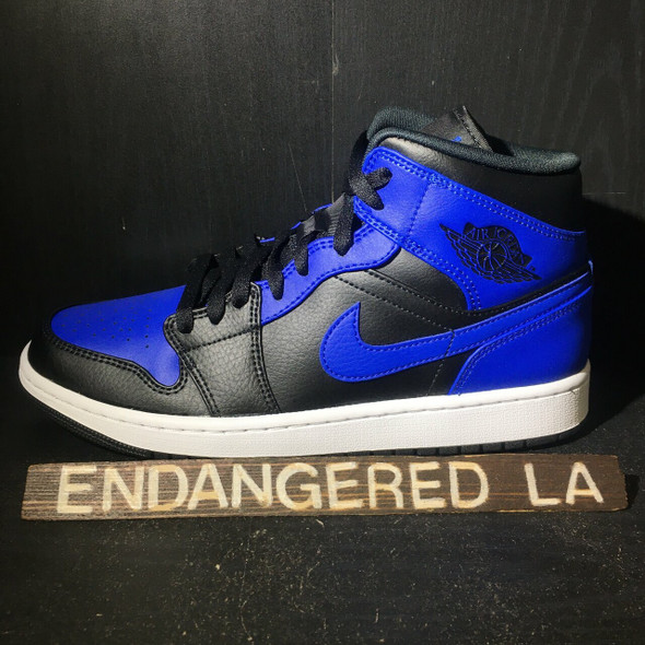 Air Jordan 1 Mid Royal Tumbled Leather Sz 9 (#18370)