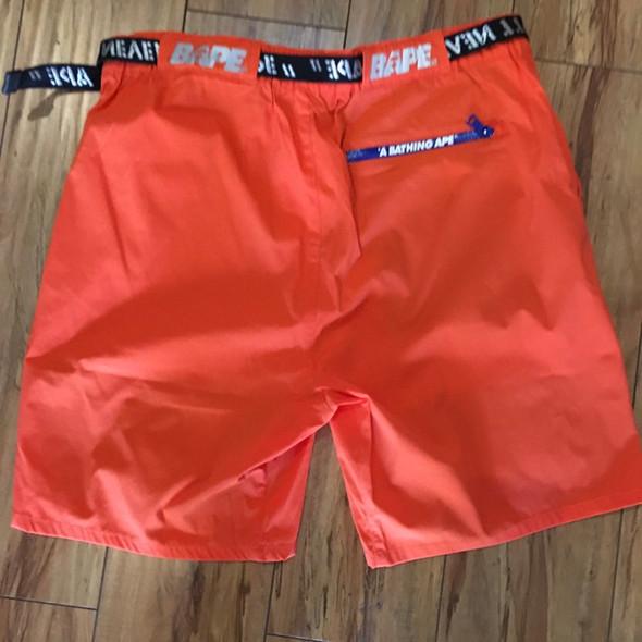 Bape Color Block Nylon Belt Shorts Orange Sz L (#7264)