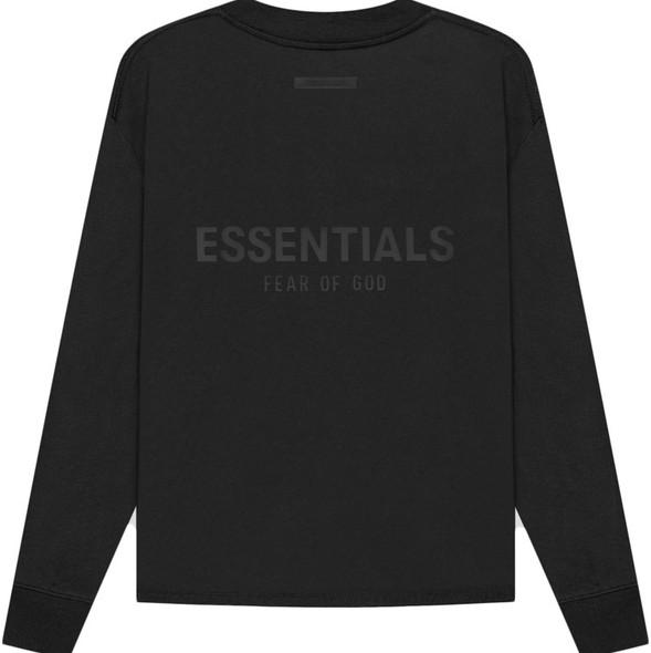 ESSENTIALS L/S Tee Black/Stretch Limo Sz M