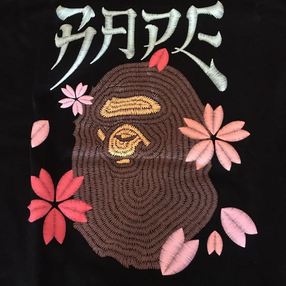 BAPE Embroidery Style Sakura Ape Head Tee Black Sz M (#7354)