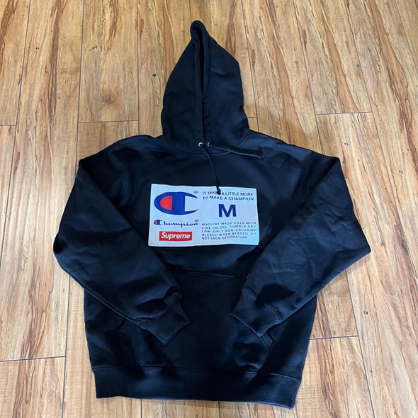 Supreme Hoodie Champion Label Hooded Black F/W 18' Sz M (#7735)