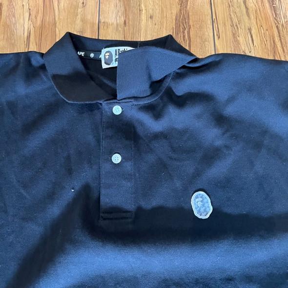 BAPE Mini Holographic Black Polo Tee  Sz XL (#7729)